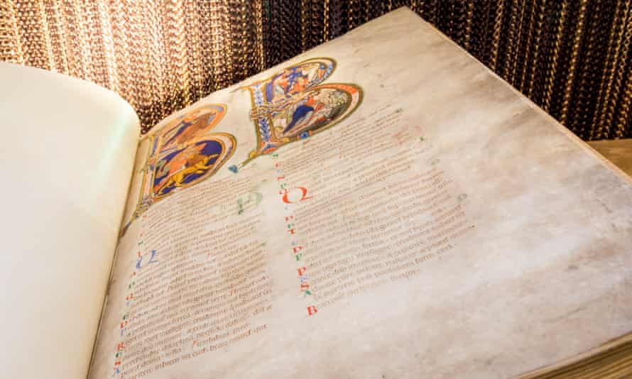 The 12th-century Bible is written in Latin on the skins of 250 calves and decorated with gold leaf.