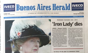 How the Herald reported the death of Margaret Thatcher on 9 April 2013.