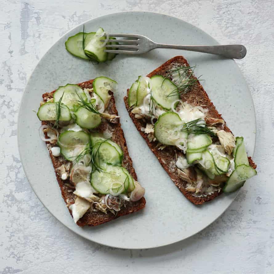 Rosie Birkett's tinned mackerel on rye with pickled cucumber and yoghurt.
