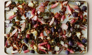 Anna Jones's roast radishes with dates and preserved lemon.