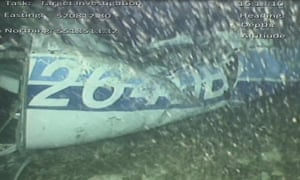 English Channel An image issued by the Air Accidents Investigation Branch shows the rear left side of the fuselage, including part of the aircraft registration, in the wreckage of the plane which was carrying Cardiff City footballer Emiliano Sala, after it was discovered in the English Channel