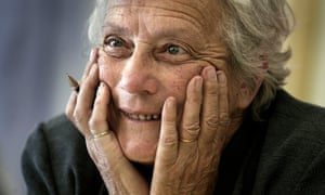 Mary Warnock with her hands at her face in 2002