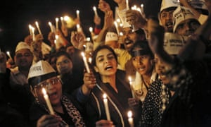 A vigil in Delhi held in support of a woman who was raped by her Uber driver in the Indian capital.