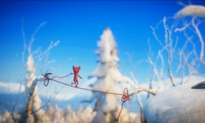 Yarny, a human-like ball of wool, uses his thread to solve puzzles in the game Unravel