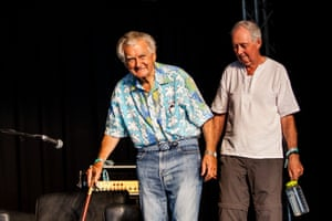 Former Australian prime minister Bob Hawke and Professor Ian Lowe arrive on the Garland stage.