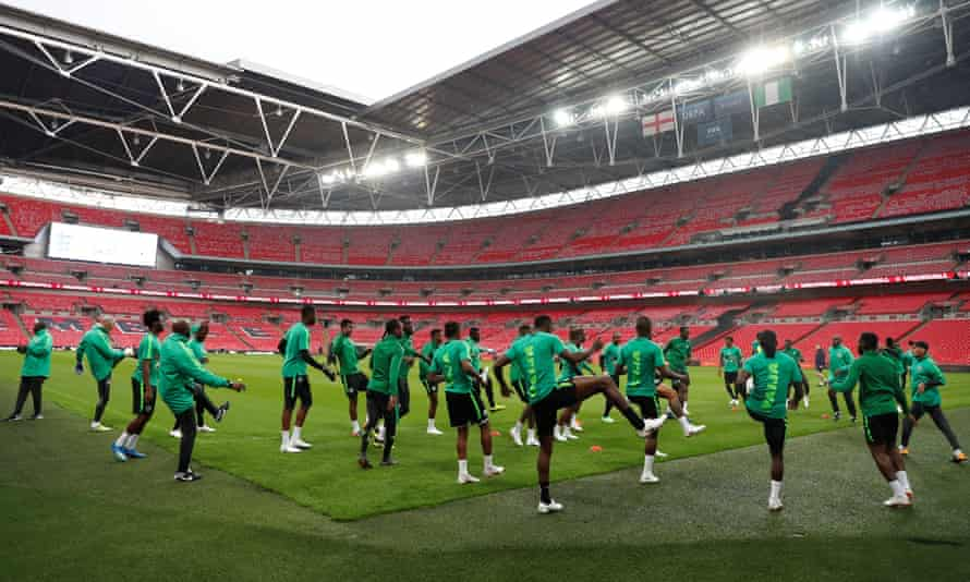 Nigeria's players go through their paces in training at Wembley.