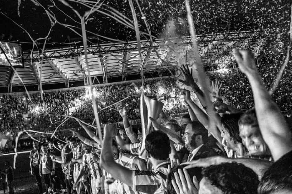 Olympiakos, whom Ernesto Valverde has managed twice, celebrate winning the league