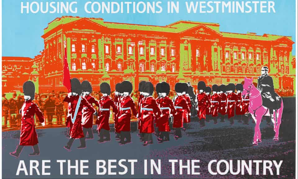 On Average Housing Conditions in Westminster Are the Best in the Country poster, 1988, John Phillips
