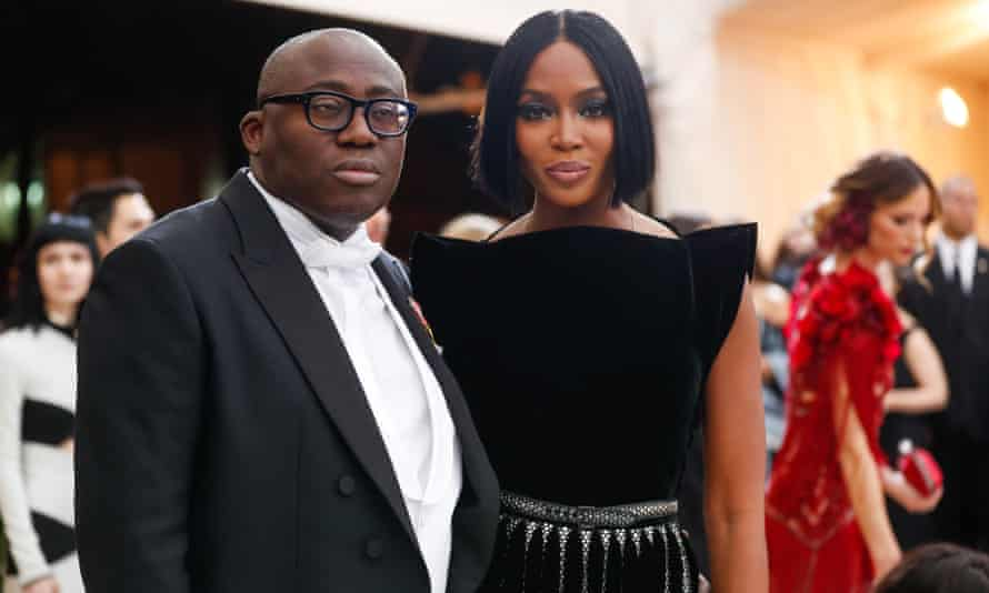 Campbell with Vogue editor Edward Enninful