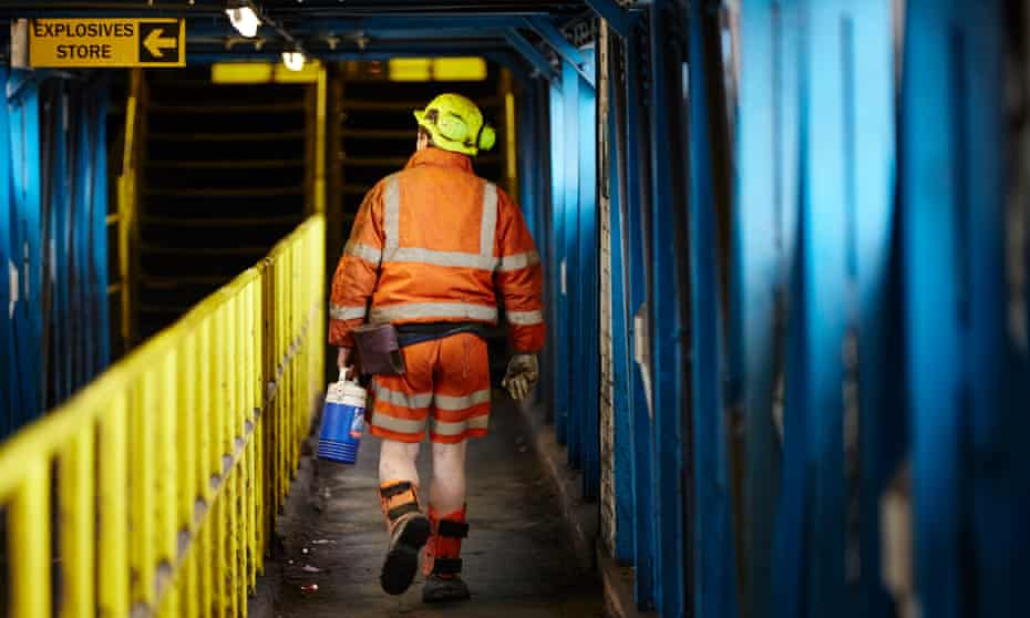 A miner leaving Kellingley colliery, the UK's last deep coal mine, for the final time.