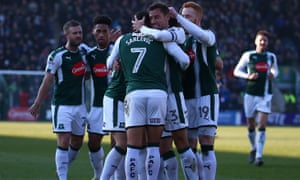 Argyle players celebrate during a win on their recent surge into the play-offs.
