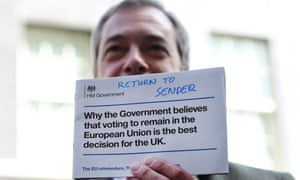 Nigel Farage returns a pro-EU pamphlet to No 10 in protest.