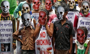 Masked children at an anti-tobacco campaign  in Kolkata, India on Wednesday.