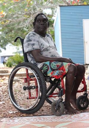 Rex Munungurr in his manual wheelchair.