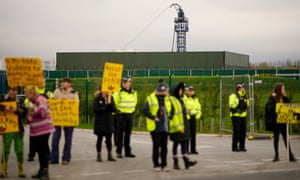 Police and protesters outside the Preston New Road drill site