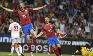 Tomas Soucek and David Pavelka celebrate a goal for the Czech Republic.