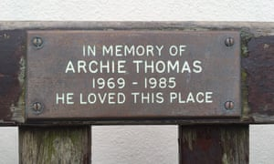 The plaque to Archie on the memorial bench