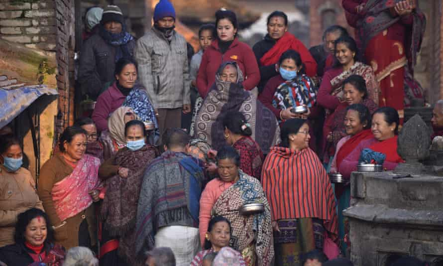 Hindu women take part in a religious festival at Bhaktapur on 7 February 2021