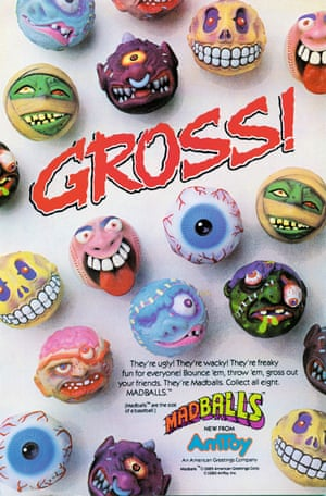 American Greetings, 1986 scary rubber balls advert from the book Toys: 100 Years of All-American Toy Ads (£30) by Jim Heimann and Steven Heller is published by Taschen.