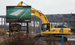 work at the site of the future Amazon fulfilment centre in Ottawa, Canada.