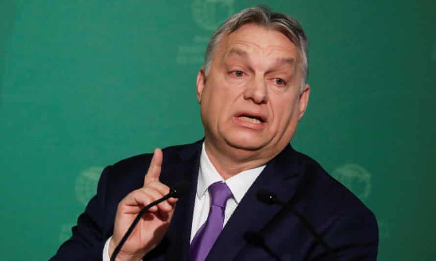 Hungarian prime minister Viktor Orbán speaks during a business conference in Budapest.