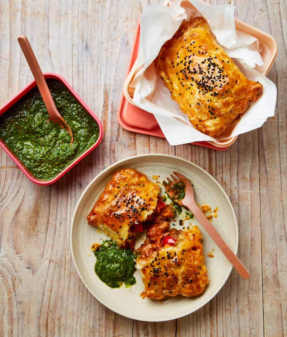 Yotam Ottolenghi's spiced chicken puffs with chermoula.