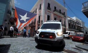 Ambulance drivers protest in Puerto Rico