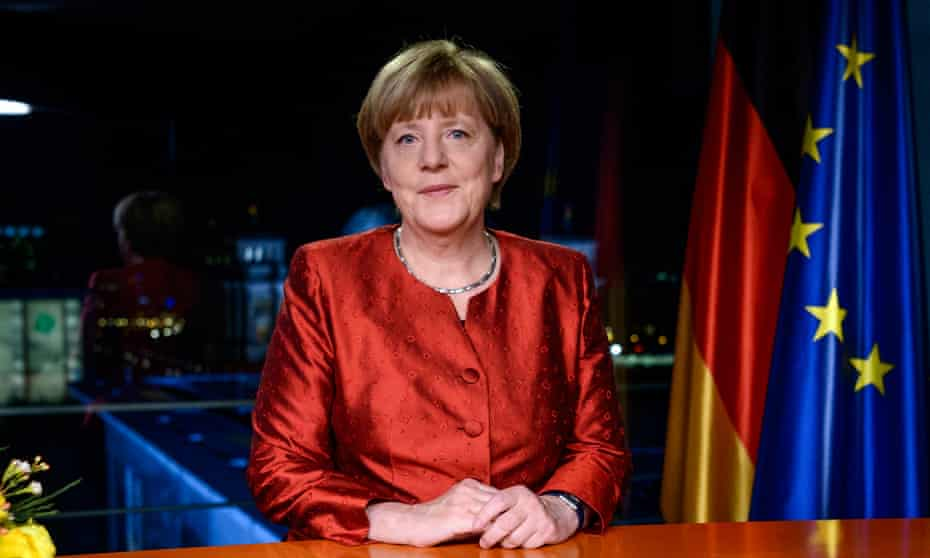 Chancellor Angela Merkel delivers her new year address in which she urges the German people to be 'humanitarian' and see the arrival of refugees as an opportunity.