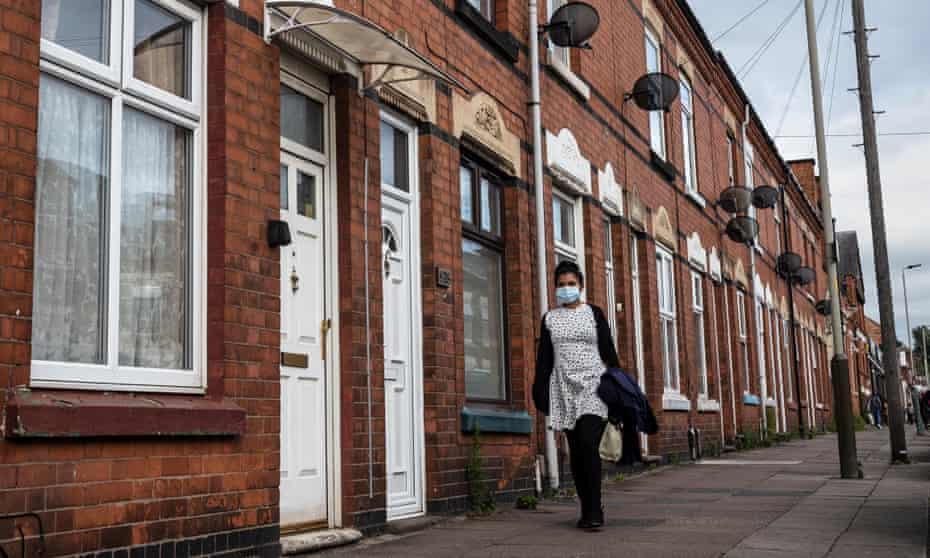 Masked woman walking