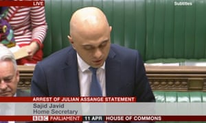 Javid reads a statement on Assange to the House of Commons.