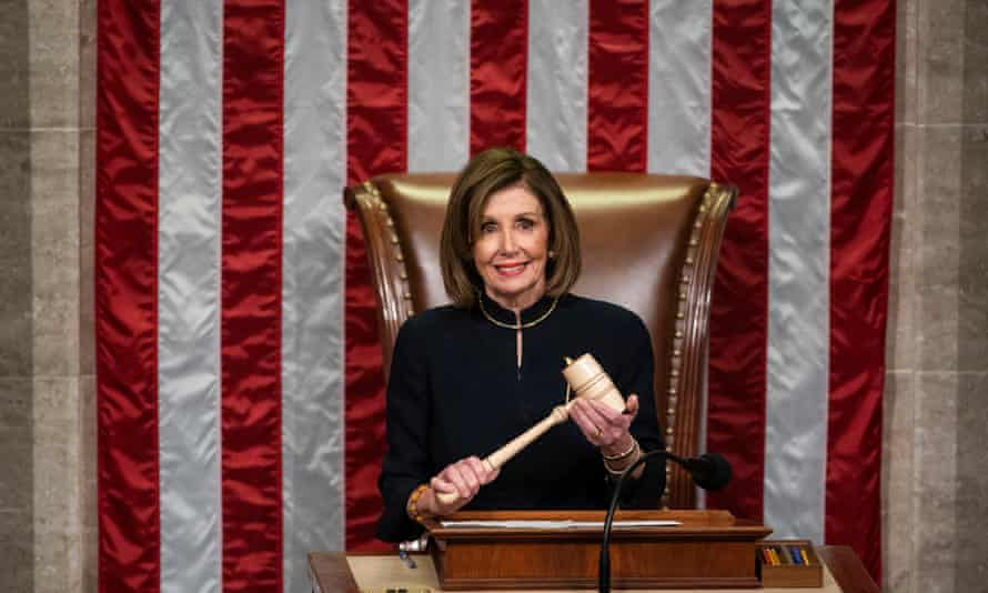 Speaker of the House, Nancy Pelosi, presides over the votes to officially impeach Donald Trump on two articles, in the US Capitol on 18 December 2019.