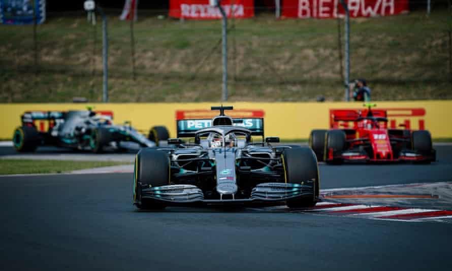 Lewis Hamilton takes control of the Hungarian Grand Prix.