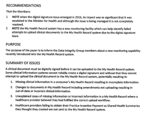 An excerpt from an official document describing the My Health Record problem.