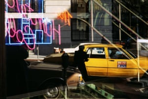 Street crossing with yellow cab, 1985