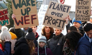 Protesters including Greta Thunberg at the 50th World Economic Forum meeting in Davos on Friday.
