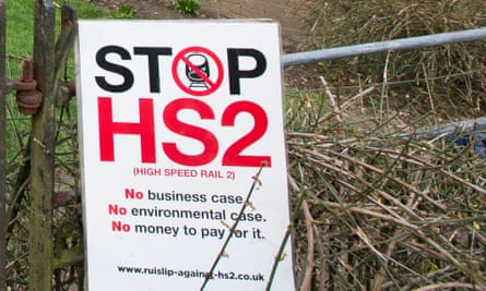 A sign protesting against HS2 in the Colne Valley