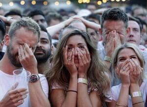 England fans react with dismay as Croatia score