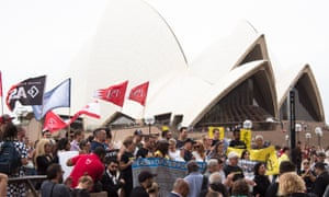 A rally in support of Bahraini refugee and Australian resident Hakeem al-Araibi in Sydney