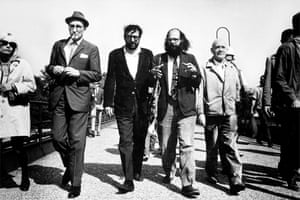 Esquire magazine assembled a team of world-famous writers backed by a rock photographer to cover the moment when extraordinary politics needed something out of the ordinary: left, to right, French novelist Jean Genet; beat poet Allen Ginsberg; new journalism satirist Terry Southern; and Beat Generation author William S Burroughs