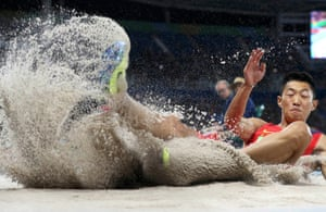 Wang Jianan of China impresses as the best qualifier in the long jump.
