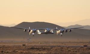 A Virgin Galactic test flight in the Mojave desert last year