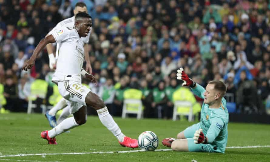 Vinicius Junior rounds Marc-Andre ter Stegen on a night when the Brazilian scored Real Madrid's first goal in their 2-0 win against Barcelona.