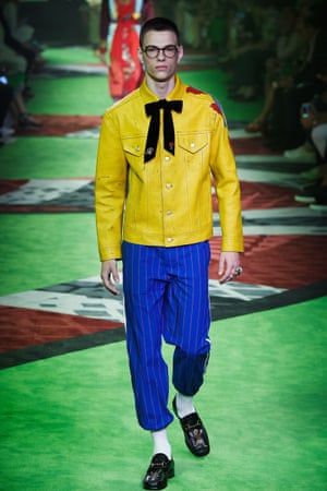 A model on the Gucci catwalk.