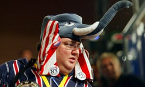 Delegate Mike Lachs wears a GOP elephant hat on the floor during the evening session of day one at the 2004 Republican National Convention at Madison Square Garden in New York City, August 30, 2004.