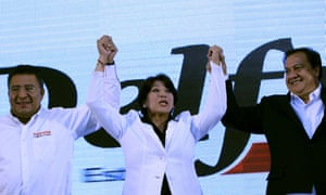 Delfina Gómez celebrates during a rally in Toluca, Mexico, 4 June 2017. Her Morena party has refused to accept the initial results of the state's election.