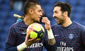 Gianluigi Buffon (right) shares a joke with Alphonse Areola before last Saturday's win against Bordeaux.