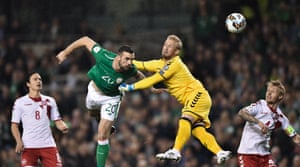 Shane Duffy beats Schmeichel to the ball to score.