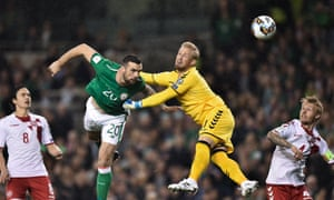 Shane Duffy, scoring here for Republic of Ireland against Denmark in 2017, has played every minute of all five of the teams' meetings over the past two years.