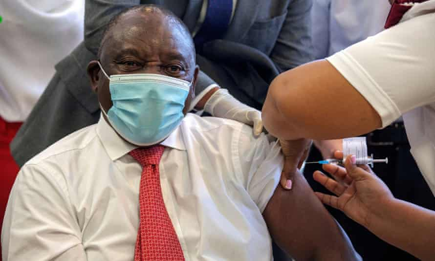 Cyril Ramaphosa, the South African president, received a Covid-19 vaccination in February.