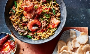 Mie goreng with pork, prawn and shiitake by Lara Lee.
